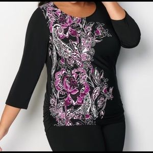 Black and Purple Floral Blouse with Ruched Sides
